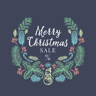 Feliz navidad venta descuento dibujado a mano boceto guirnalda, banner o plantilla de tarjeta.