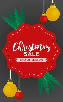 Feliz navidad venta letras con bolas colgando en la ilustración del marco
