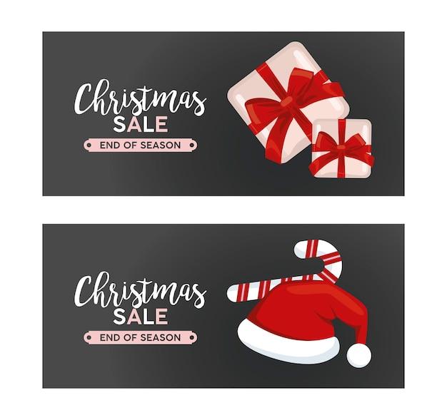 Feliz navidad venta letras con regalos y bastones e ilustración de sombrero de santa