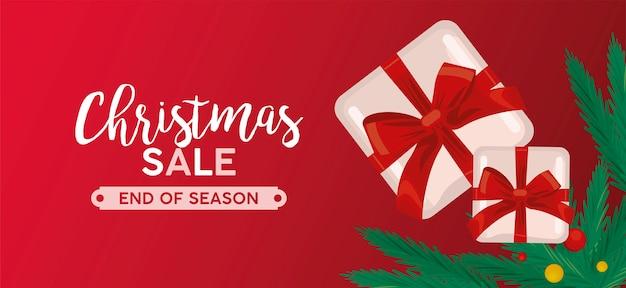 Feliz navidad venta letras con regalos y hojas ilustración