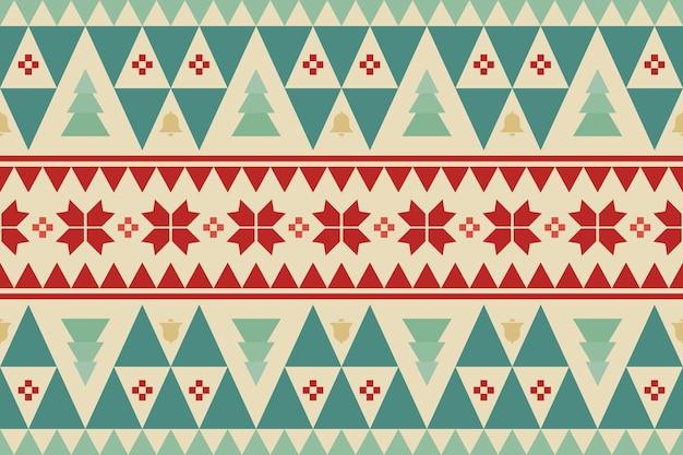 Feliz navidad vintage étnico de patrones sin fisuras con árboles verdes, campanas amarillas y flores rojas. diseño de fondo, papel tapiz, tela, alfombra, banner web, papel de regalo. estilo de bordado. vector.