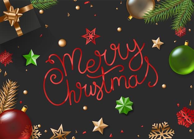 Feliz navidad. vista superior de la composición del vector