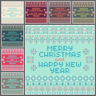 Feliz navidad y feliz año nuevo conjunto de tarjetas vectoriales cuadrados