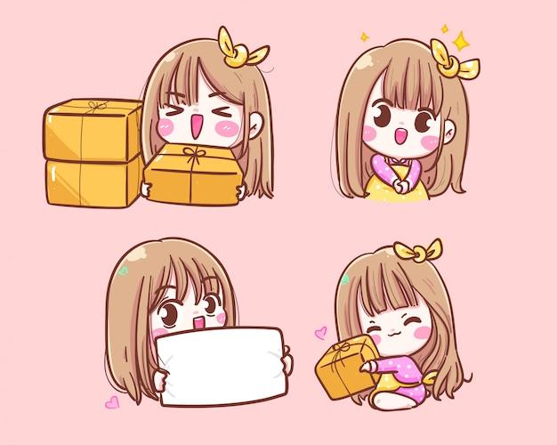 Feliz niña comerciante lindo sonriendo con caja y signo logotipo de icono de compras en línea ilustración dibujada a mano.