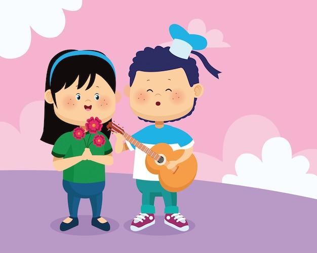 Feliz niña con flores y niño tocando una guitarra