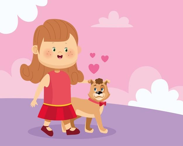Feliz niña con lindo perro