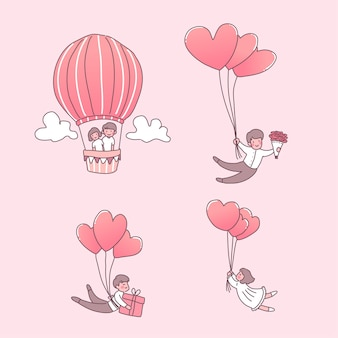 Feliz, niña, y, niño, enamorado, ilustraciones, conjunto