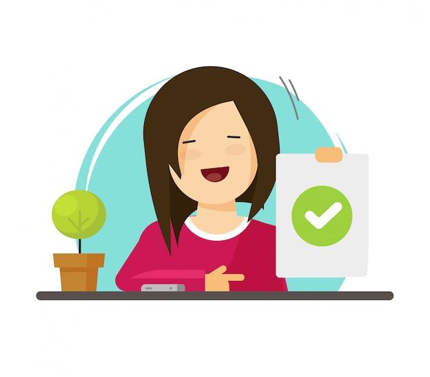 Feliz niña o mujer persona personaje mostrando respuesta positiva