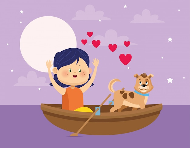 Feliz niña y perro en canoa de madera