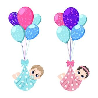 Feliz niño lindo bebé y niña volando con globos de colores aislados sobre fondo blanco