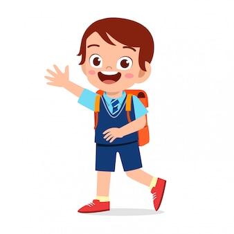 Feliz niño lindo niño listo para ir a la escuela