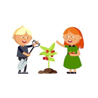 Feliz niño y niña haciendo juego de jardín