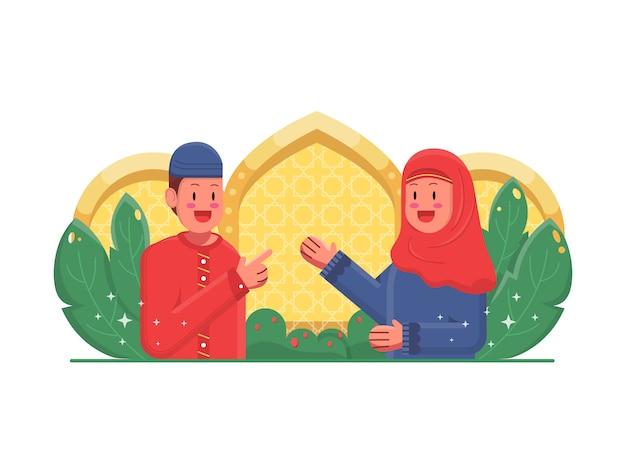 Feliz niño y niña ilustración islámica