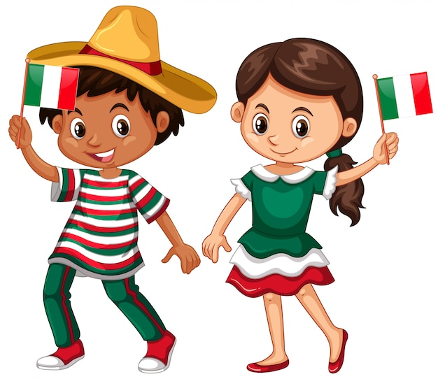 Feliz niño y niña sosteniendo la bandera de méxico