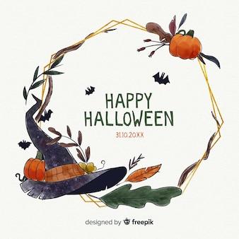 Feliz noche de halloween marco de acuarela