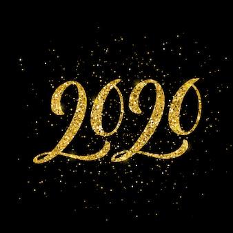 Feliz nueva tarjeta de felicitación del año 2020 con letras dibujadas a mano