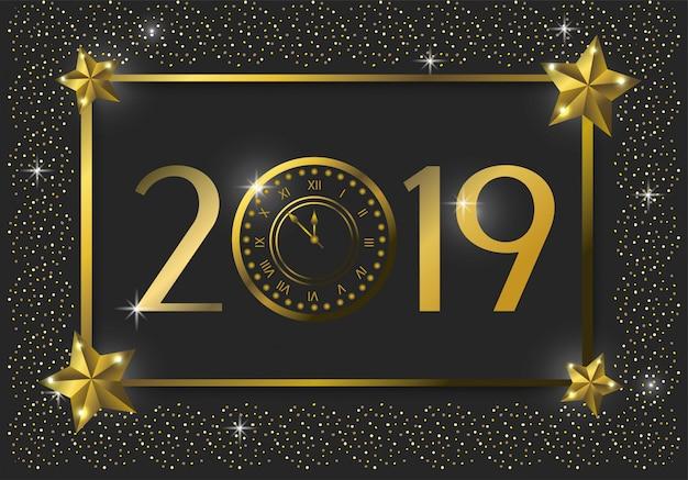 Feliz nuevo emblema de 2019 años con estrellas.
