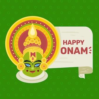 Feliz onam con deidad hindú