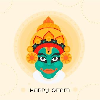 Feliz onam con deidad india