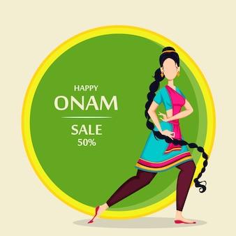 Feliz onam, mujer india bailando