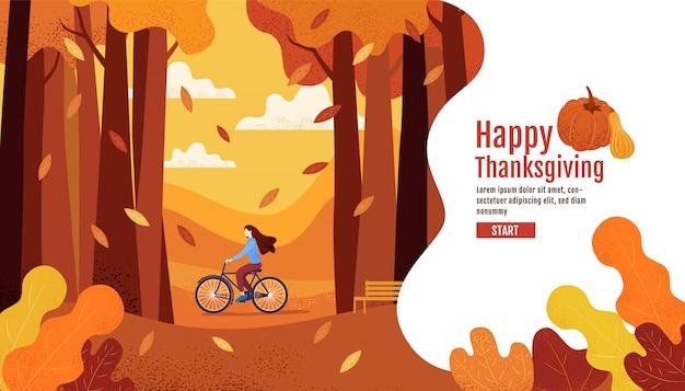 Feliz otoño, acción de gracias, mujeres andar en bicicleta en el jardín de otoño.