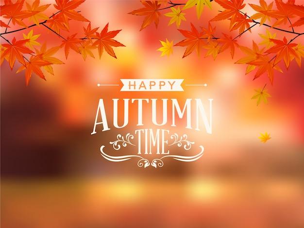 Feliz otoño tipografía vector