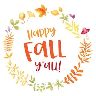 Feliz otoño todos ustedes corona de acuarela