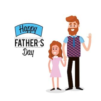 Feliz padre con su hija felicitándolo