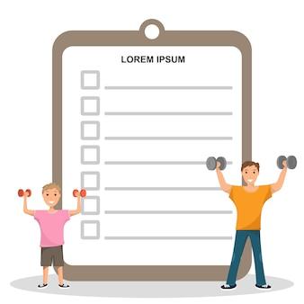 Feliz padre e hijo entrenamiento haciendo programa de fitness