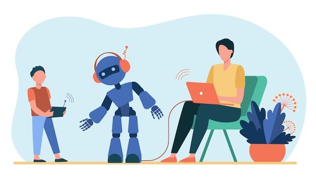 Feliz padre e hijo jugando con robot. laptop, niño, cyborg ilustración vectorial plana. robótica y tecnología digital