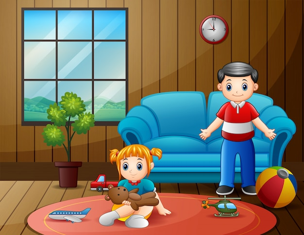 Feliz padre con su hijo jugando en la habitación