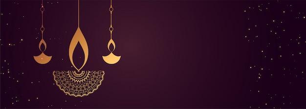 Feliz pancarta diwali con diseño decorativo diya