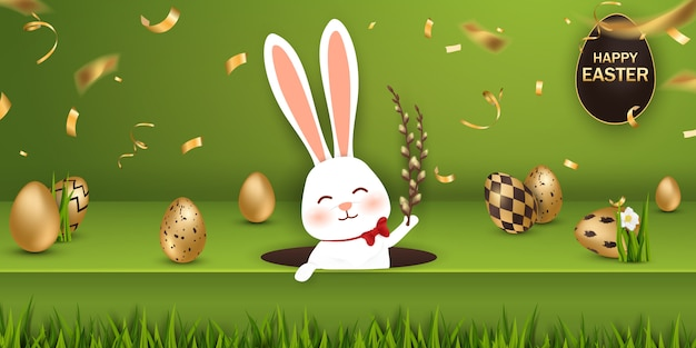 Feliz pancarta de pascua con huevos de oro y conejito