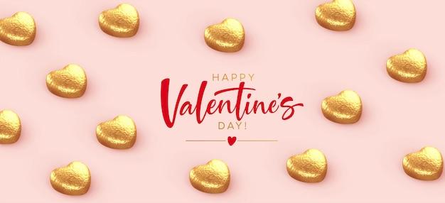 Feliz pancarta de san valentín, con chocolates dorados en forma de corazón