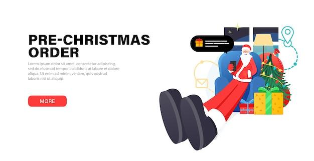 Feliz papá noel relajándose en casa la víspera de navidad se sienta en una silla
