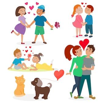 Feliz pareja adulta en el amor sentimiento emociones conjunto.