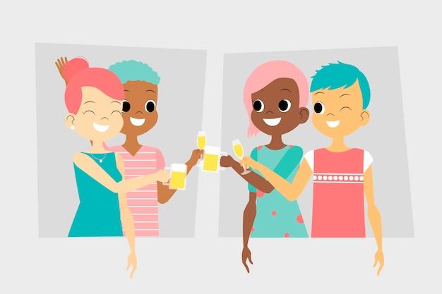 Feliz pareja amigos brindando juntos