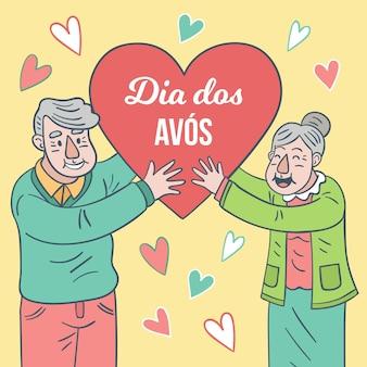 Feliz pareja de ancianos con forma de corazón