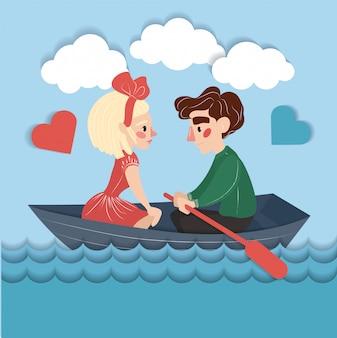 Feliz pareja en el barco