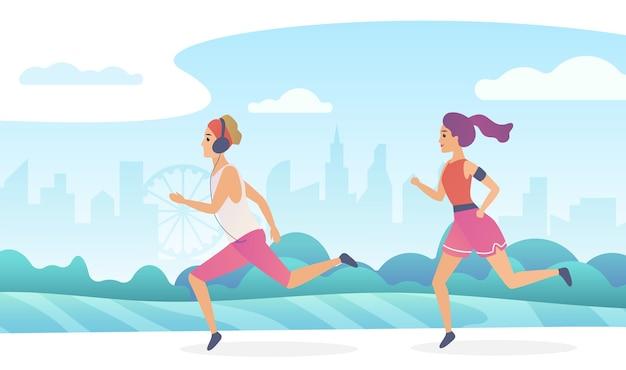 Feliz pareja corriendo en el parque público de la ciudad. ilustración de degradado de moda