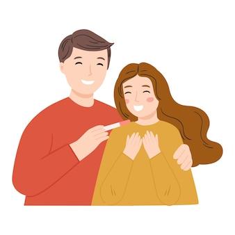 Feliz pareja descubriendo los resultados de un embarazo