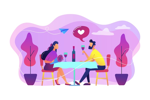 Feliz pareja de enamorados en cita romántica sentados a la mesa y bebiendo vino, gente pequeña. cita romántica, relación romántica, concepto de historia de amor.