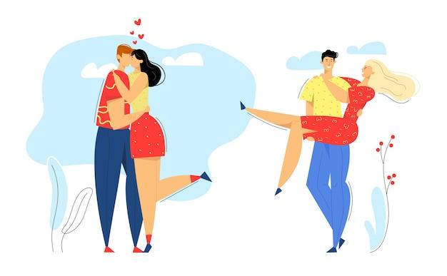 Feliz pareja de enamorados. hombre besando a su novia. mujer abraza a su novio. citas románticas, concepto de propuesta de matrimonio con personajes de amantes.