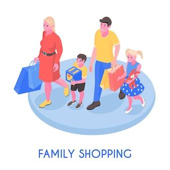 Feliz pareja familiar y niños caminando con la ilustración de vector de composición isométrica de compras