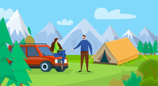 Feliz pareja de hombre joven y mujer viajes camping