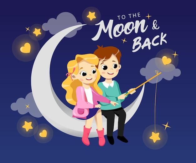 Feliz pareja joven de dibujos animados en el amor está sentado en la luna