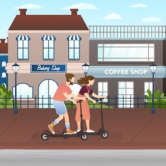 Feliz pareja montando scooter motorizado o eléctrico por la calle de la ciudad.