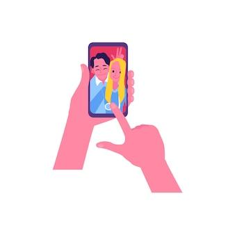 Feliz pareja selfie en la pantalla del teléfono