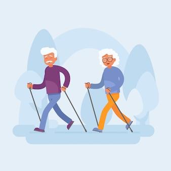 Feliz pareja senior haciendo marcha nórdica en el parque