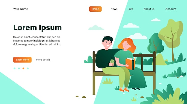 Feliz pareja sentada en un banco en el parque. fecha, amor, libro ilustración vectorial plana. diseño de sitio web de concepto de relación y familia o página web de destino